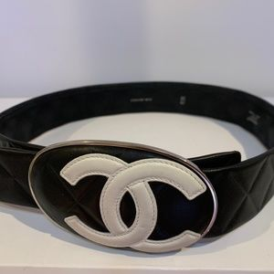 CHANEL CC Logo Quilted Leather Belt Made in France